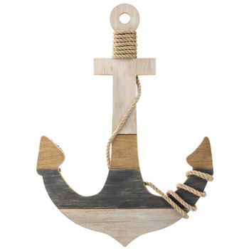 Striped Anchor Wood Wall Decor